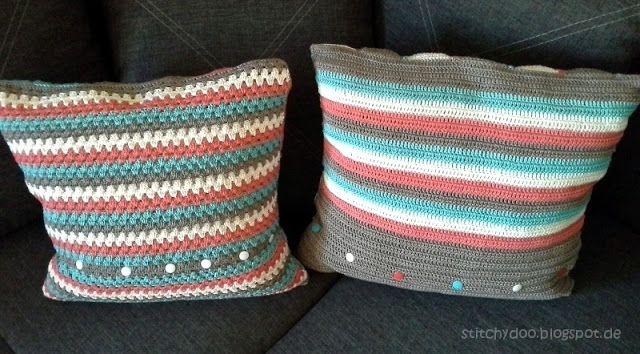 Häkelkissen Rückseite / triangle crochet pillow / granny square ...
