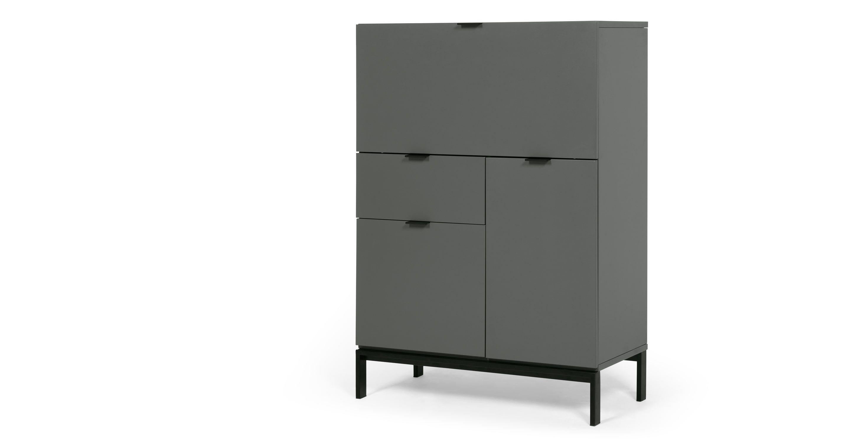 Marcell Desk Bureau White Tall Cabinet Storage Grey Cabinets Locker Storage