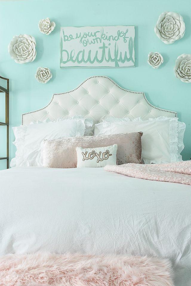 Aqua & Blush Girls Room #girlrooms