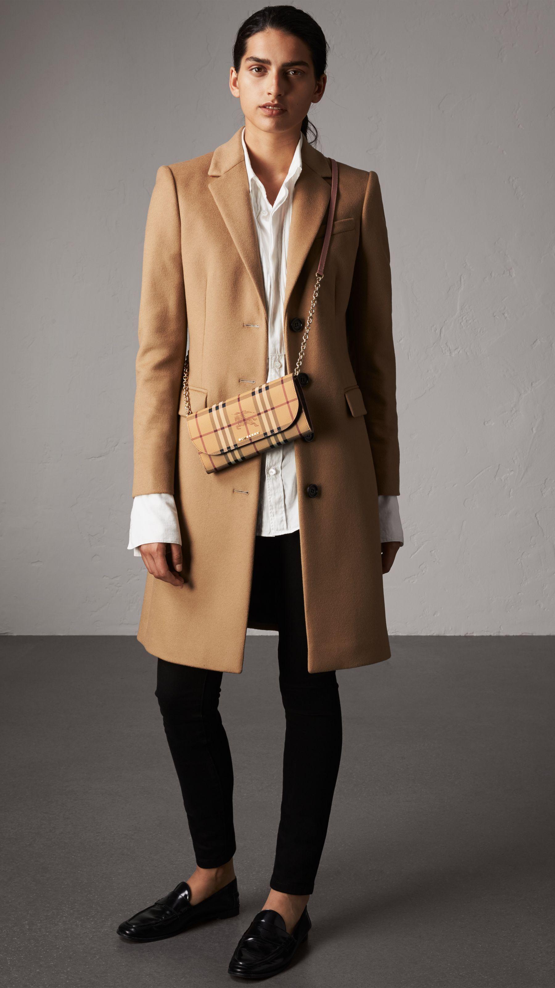 06d001922b21 Leather Trim Haymarket Check Wallet with Chain in Light Elderberry - Women