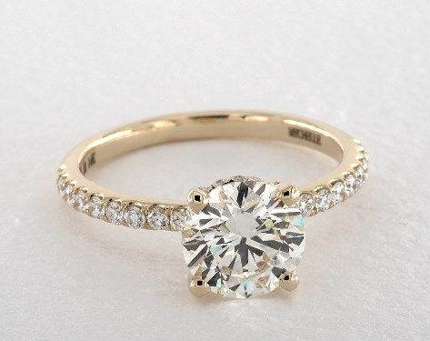 14k Yellow Gold Petite Pave Crown Diamond Engagement Ring In 2020 14k Engagement Ring Engagement Rings Round Gold Yellow Gold Engagement Rings