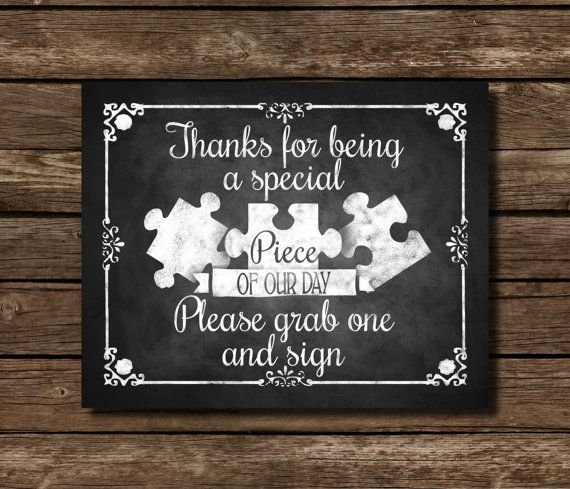 Puzzle Piece Guestbook Chalkboard Wedding Sign, DIY Download and ...