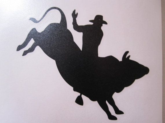 Bull riding vinyl window decal sticker available by westgavinyls