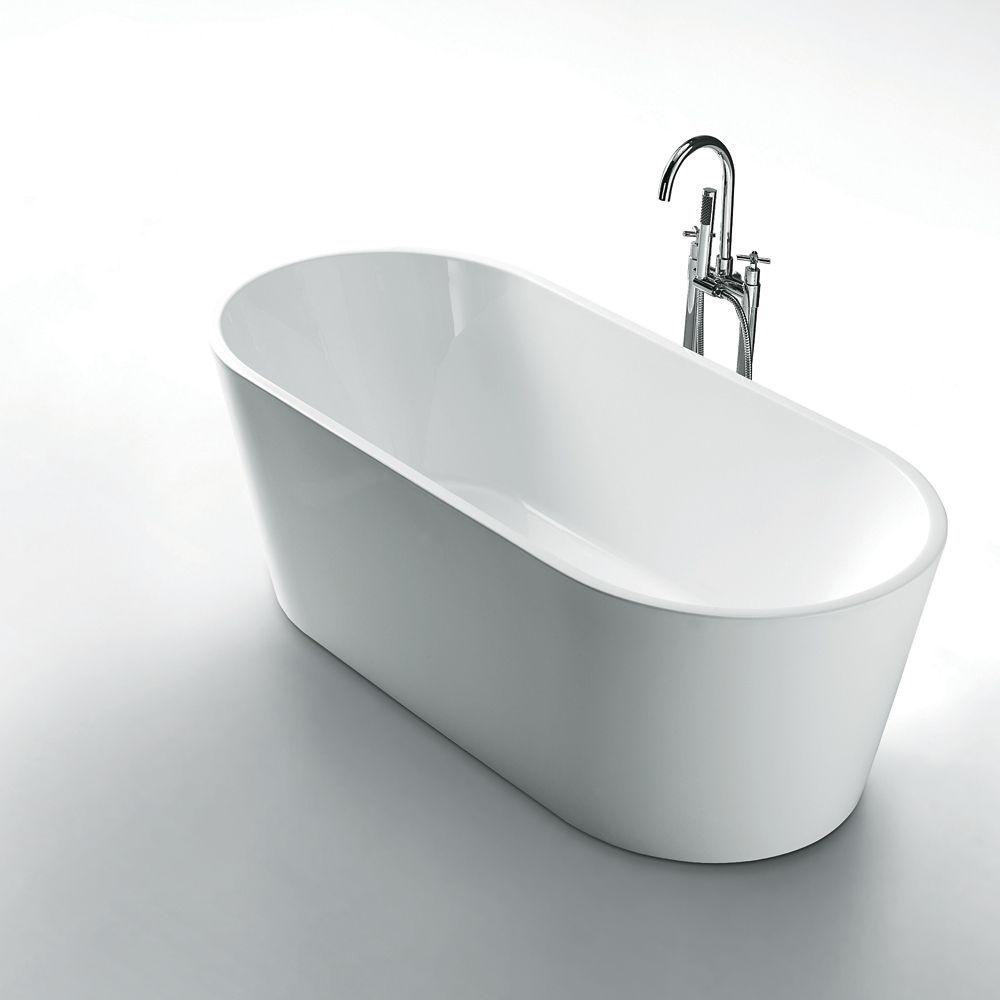 Aura 59 Inch Seamless 1 Piece White Freestanding Tub In 2020 Tub