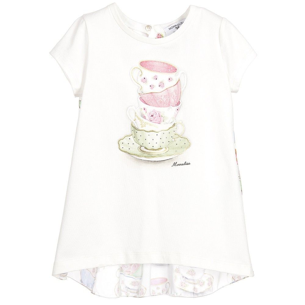 Girls white t-shirt by Monnalisa, with a sparkling tea cup print and the designer's logo on the cotton jersey front. In a casual style, the silky, pleated back is longer than the front and has a matching tea cup print with a single mother-of-pearl button fastener.