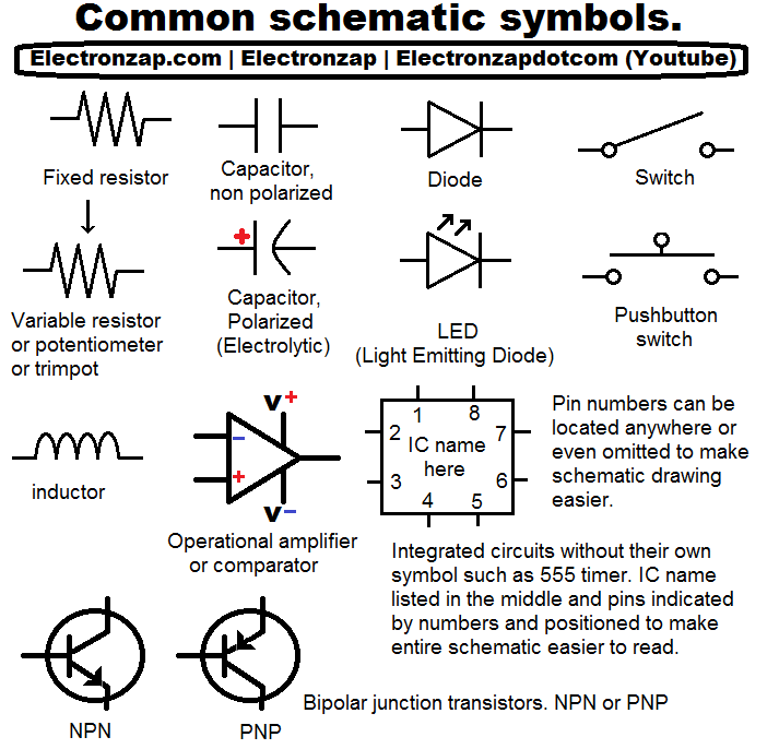 Common electronics component schematic symbols. | Electronics ...