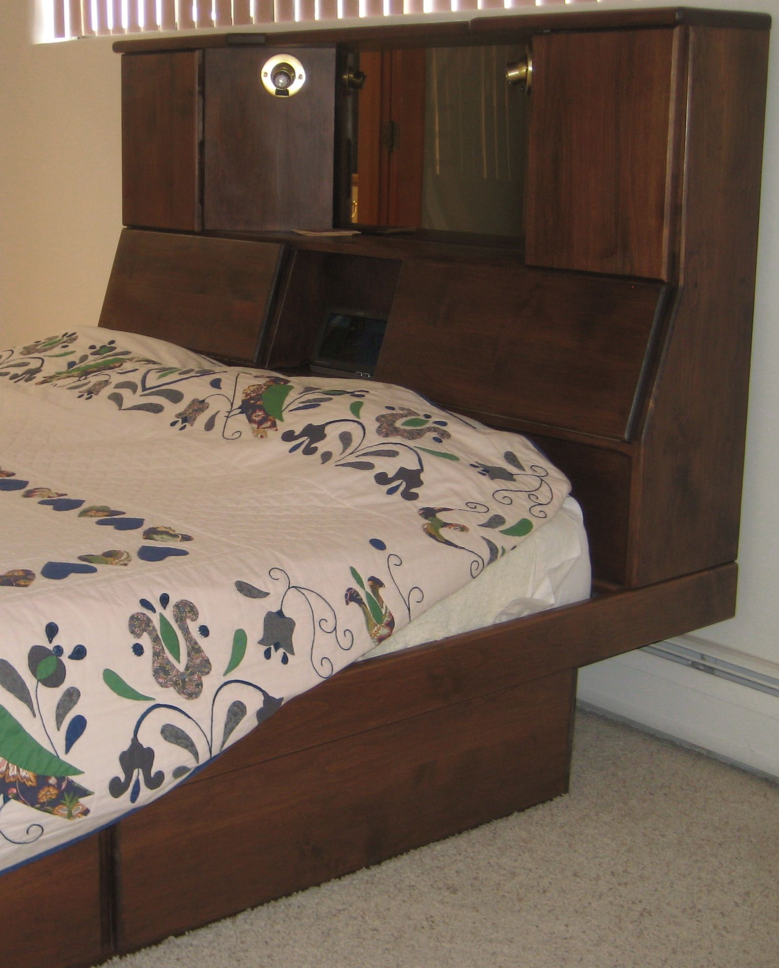 oak headboard with storage and lights Headboard with