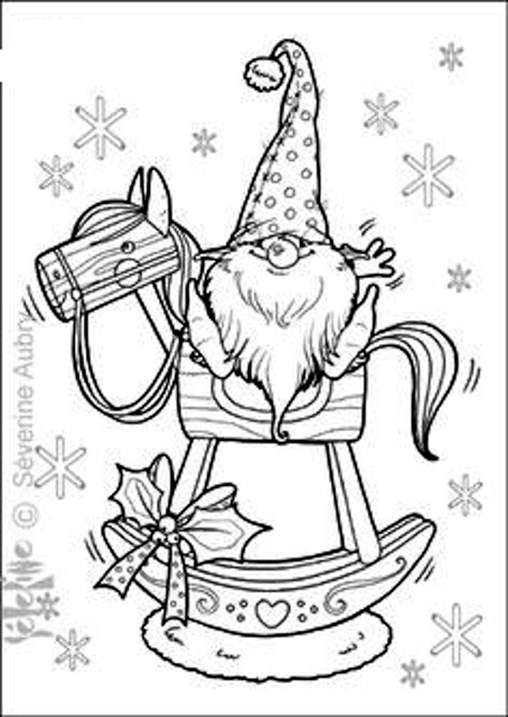 Tomte On Rocking Horse With Images Christmas Coloring Pages