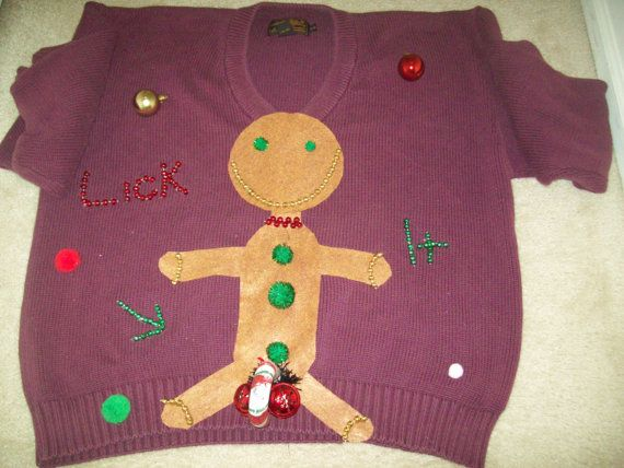 dirty ugly sweaters ugly christmas sweater men xl gingerbread man lick it funny naughty