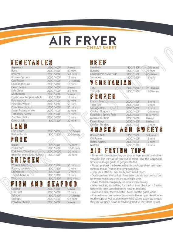Air Fryer Cook Times Printable , Cook Time , Print