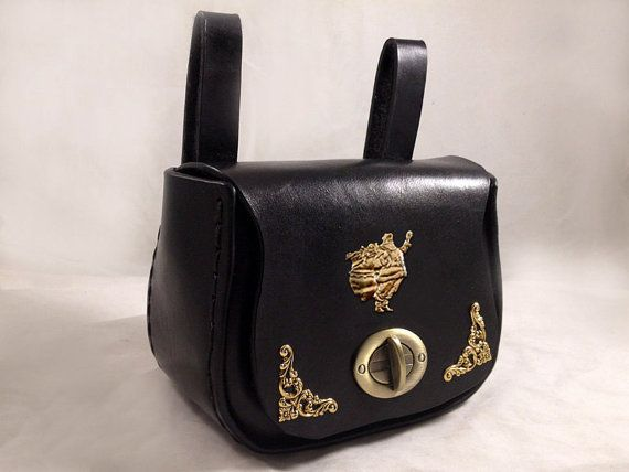 Leather Belt Pouch with Brass Decorations