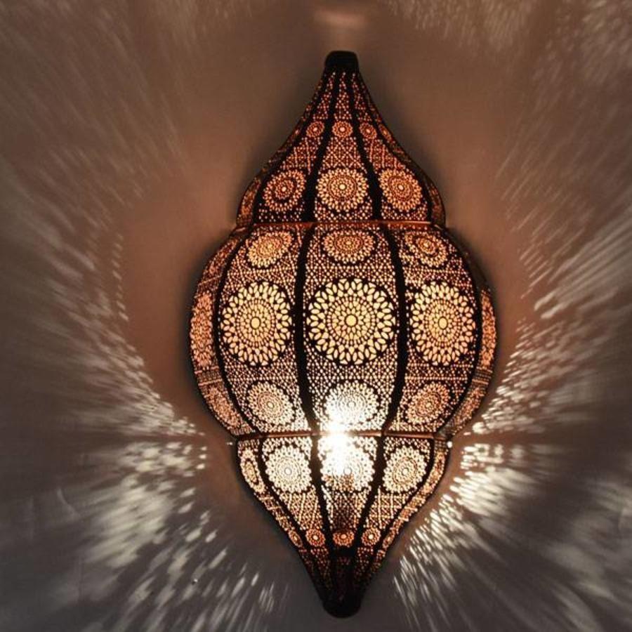 Black Oriental Wall Lamp With Warm Copper Finish Inside Wandlamp Slaapkamer Wandlamp Glasmozaiek