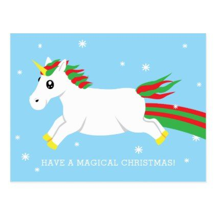 christmas unicorn magical holiday postcard xmascards christmaseve christmas eve christmas merry xmas family holy kids gifts holidays santa cards