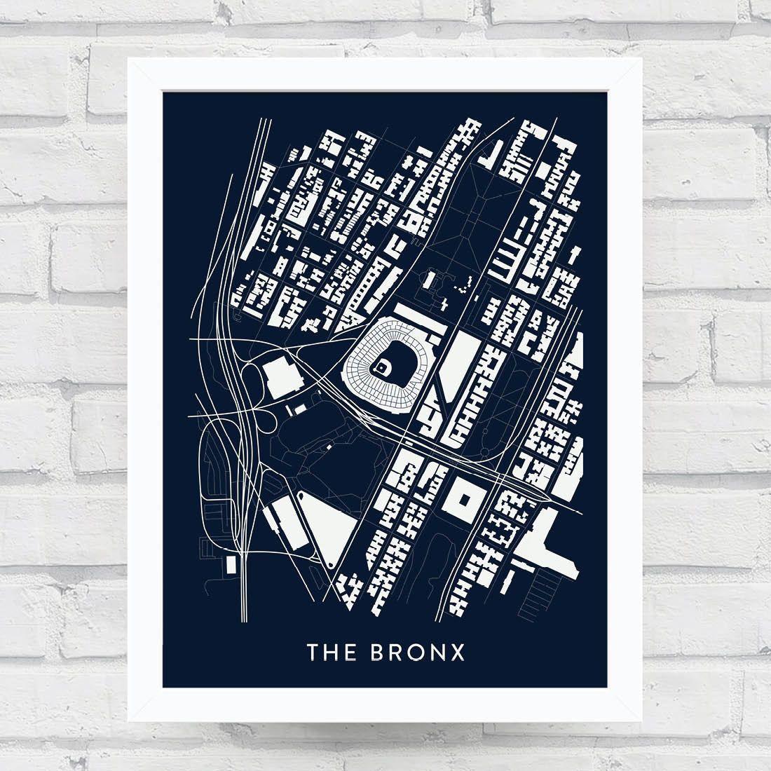The Bronx New York City Neighborhood Map Print Bronx Art Poster Baseball Decor Home Decor Office Decor Yankees Art Thrifty Decor Map Print Map Design