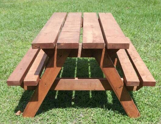 Side View Kid Picnic Table Cherry Wood