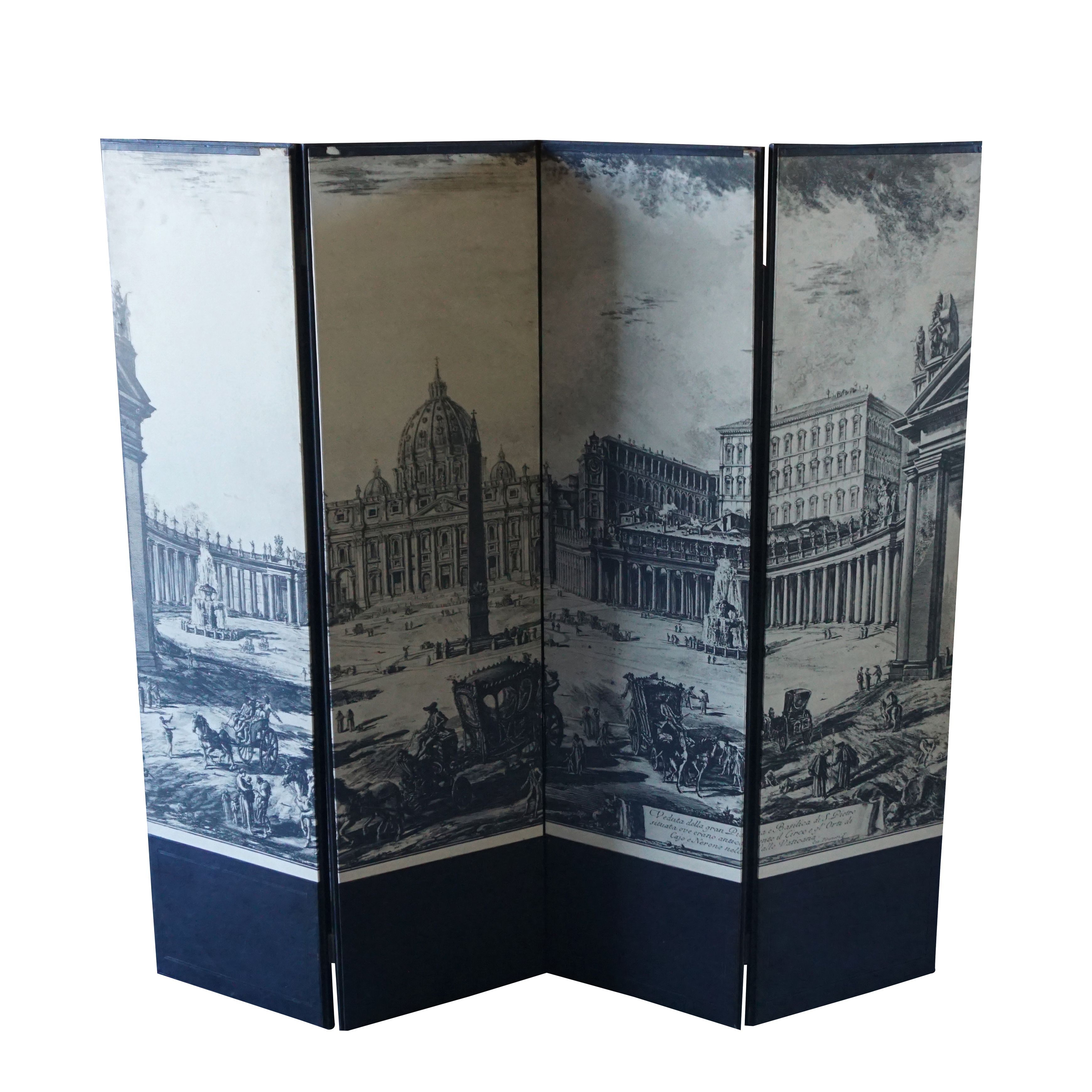 A stylish Italian room divider with four panels and an etching after
