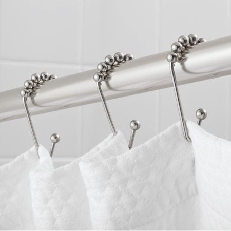 Hotel Style Open V Glide Shower Hooks With Easy Glide 1 Each Silver Shower Curtain Hooks Shower Style