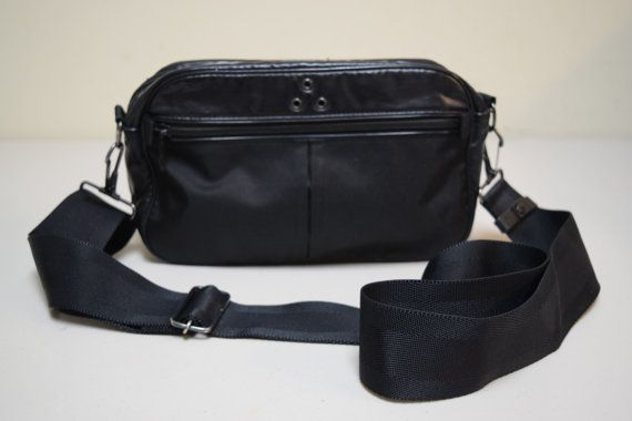 Vintage PORTER Tokyo Black Nylon Coated Vinyl Camera Crossbody Across Body  Bag 879c0a404bf0b