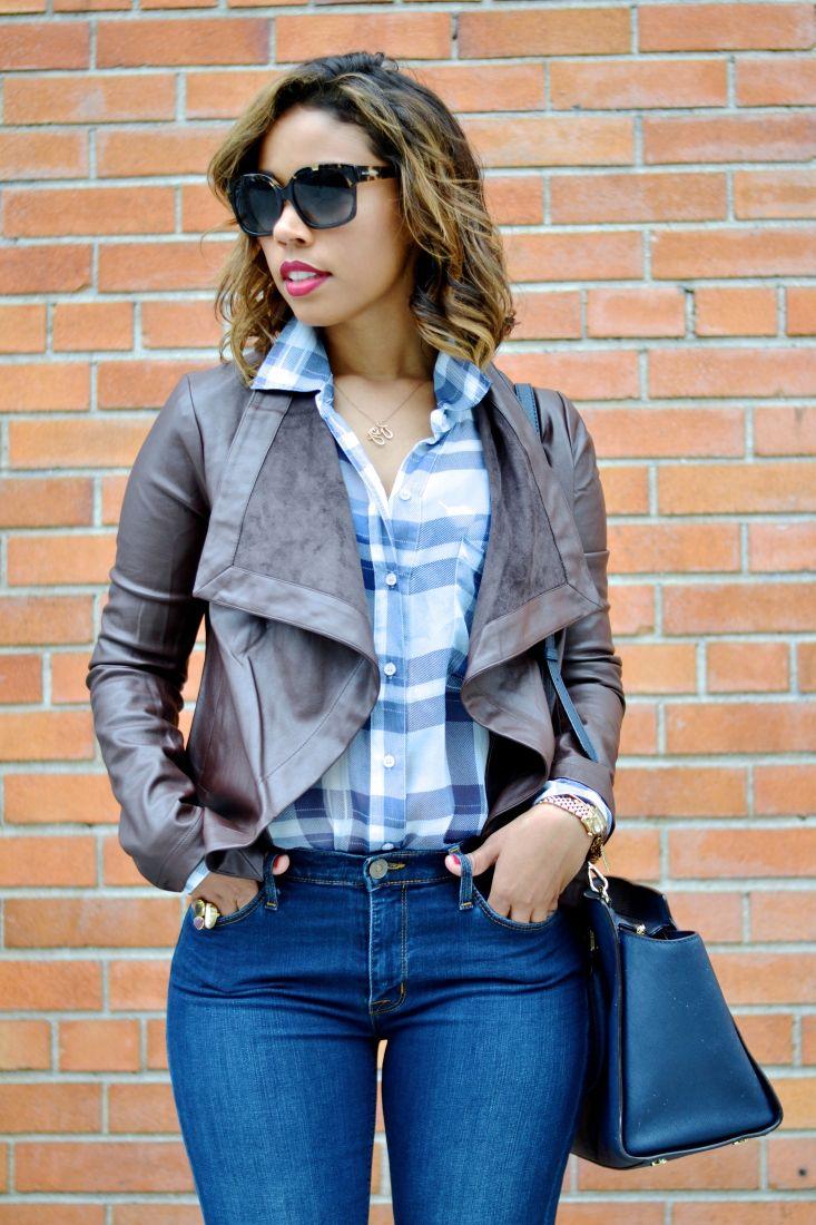 Silk plaid top and vegan leather jacket from bbdakota