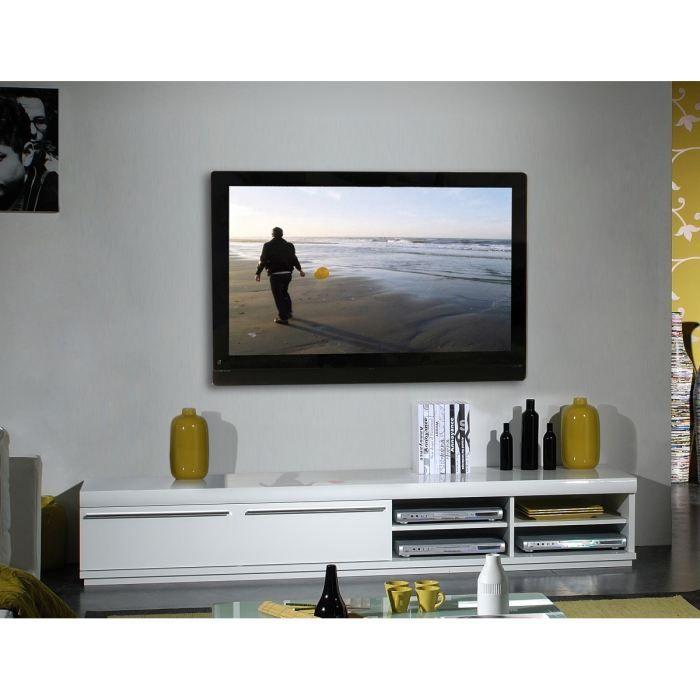 White Meuble Tv 220 Cm Blanc Laque