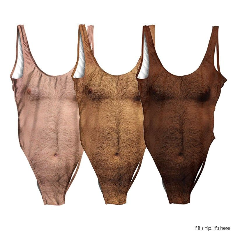 aa210e279f These Hairy Chest One Piece Swimsuits for women come in pale, tan and dark!