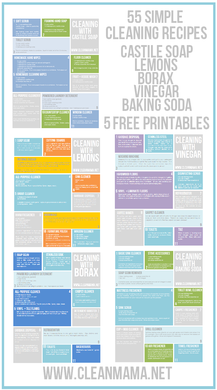 55 Simple Cleaning Recipes 5 Free Printables Clean Mama