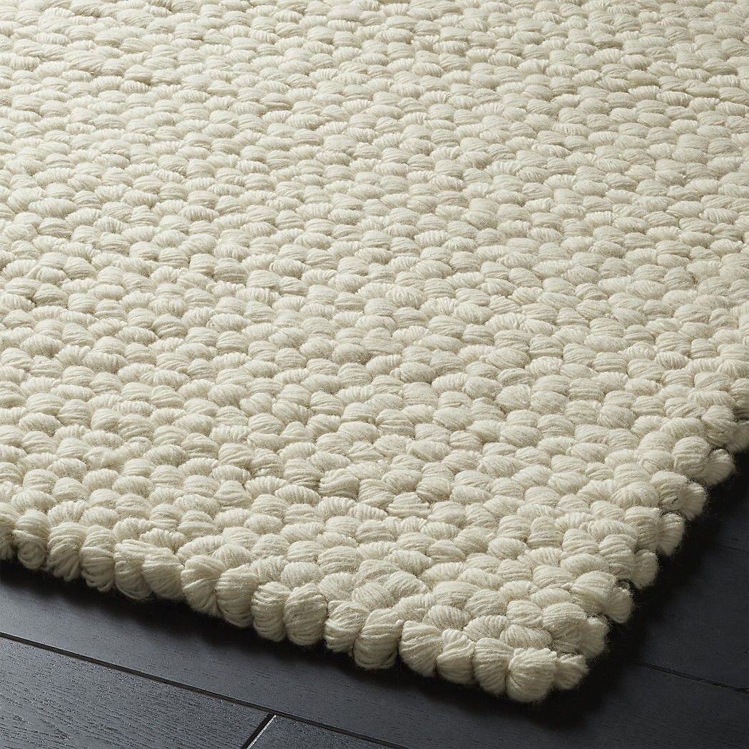 Topknot Natural Wool Rug Narrow Yarn Is Woven Row By Secured With Light Grey And Yellow Pulled Through To Create Large Loops In