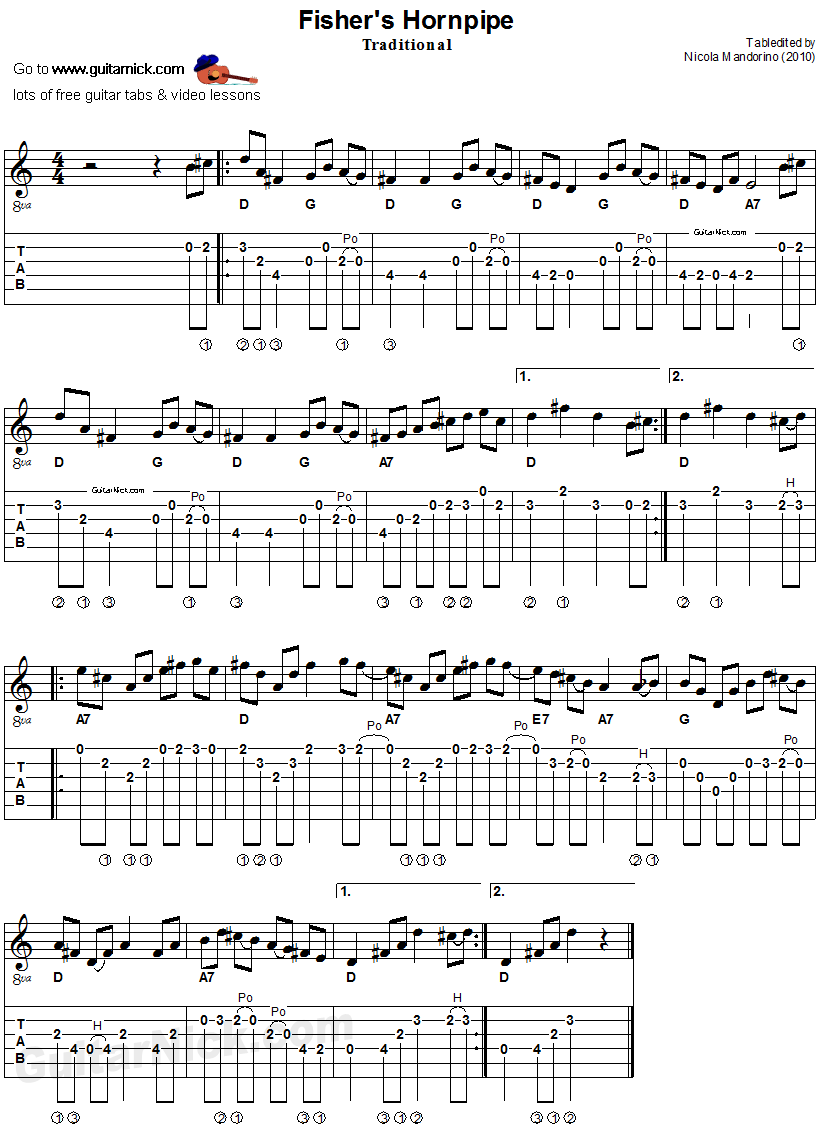 fisher 39 s hornpipe acoustic irish flatpicking guitar tab sheet music gitarr. Black Bedroom Furniture Sets. Home Design Ideas