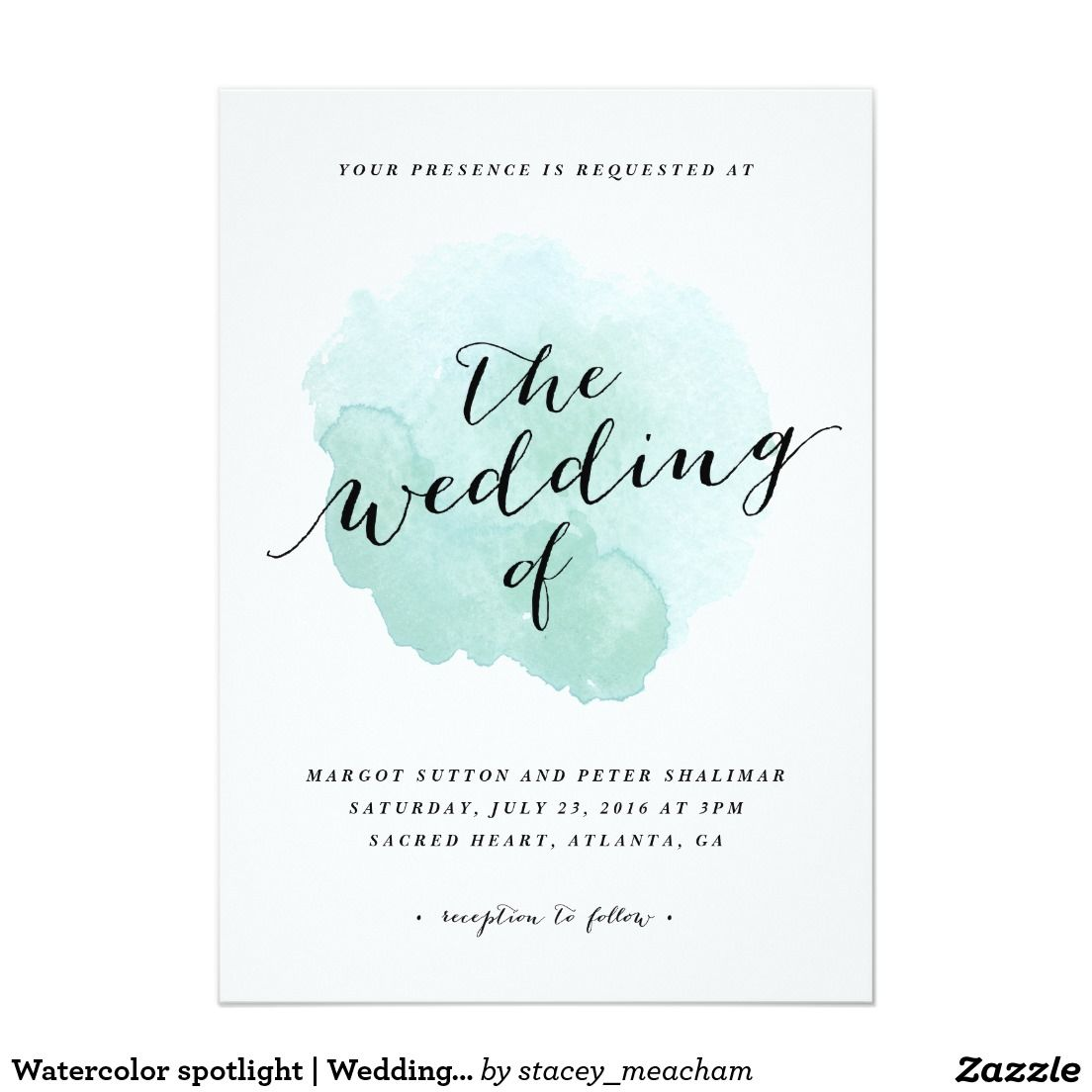 Watercolor Spotlight Wedding Invitation Zazzle Pinterest