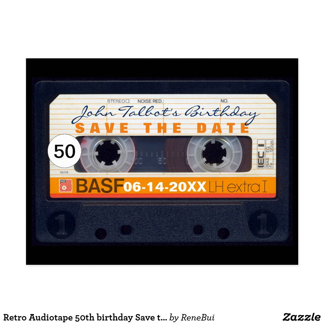 Retro Audiotape 50th Birthday Save The Date Postc Postcard Save