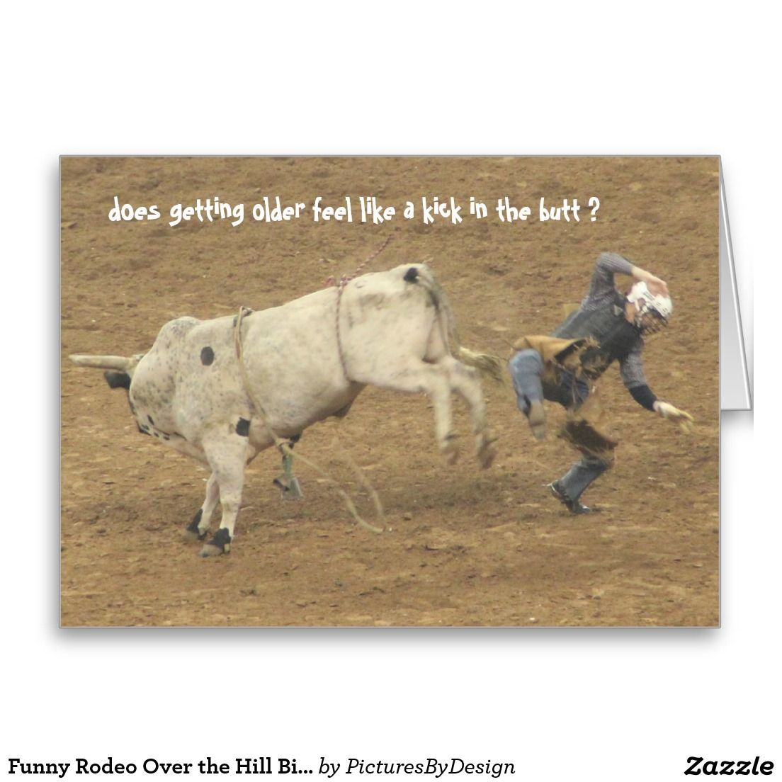 Funny Rodeo Over The Hill Birthday Bull Rider Card Rodeo
