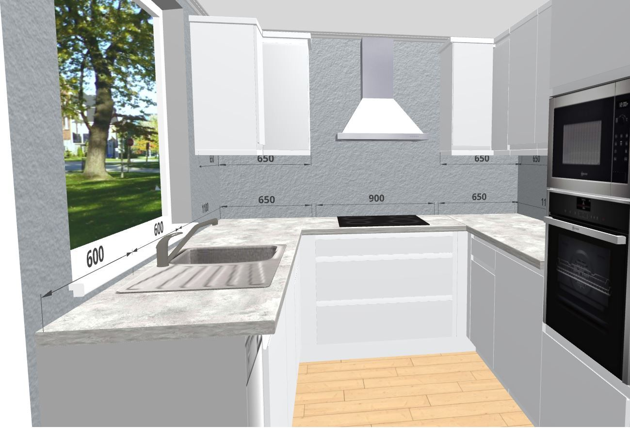 White U-Shaped Kitchen Design. Free 3D Kitchen Planner ...