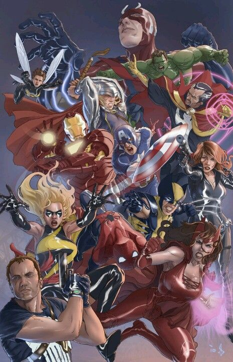 Avengers - Hank Pym - Wasp - Thor - Dr Strange - Iron Man - Captain America - Ms Marvel - Wolverine - Spider-Man - Black Widow - Scarlet Witch 0 Punisher - Bentti Bisson
