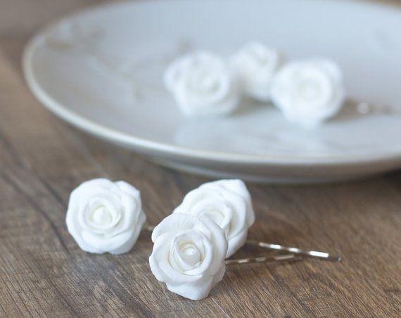 White Rose Hair Clips White Rose Hair Pins Set Of 3 Wedding