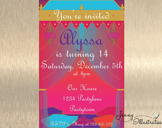 Bollywood Birthday Invitation Arabian Nights Party Indian With FREE Thank You Card Digital File