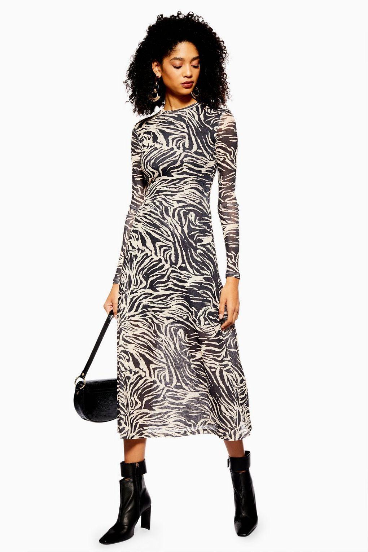 8b4db838 Zebra Print Mesh Midi Dress in 2019 | Wear | Dresses, Midi dresses ...