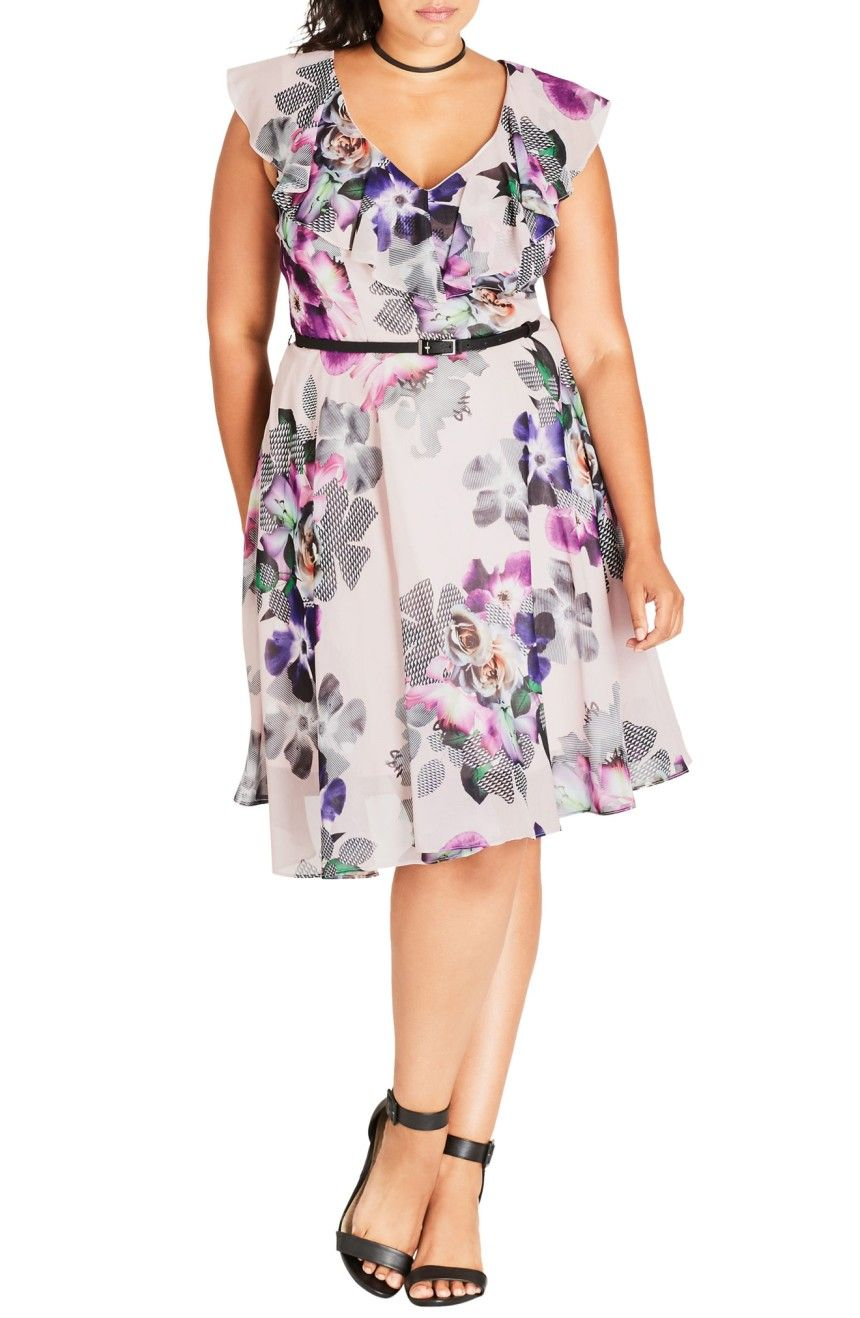 Main Image City Chic Romance Ruffle Floral Fit & Flare Dress Plus