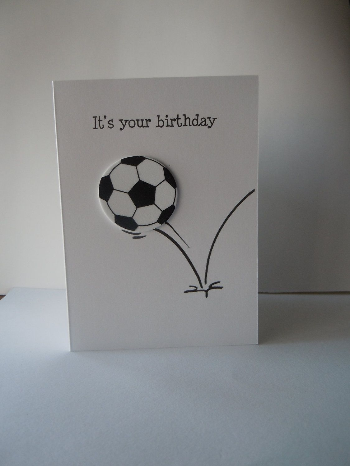 Soccer ball happy birthday handmade greeting card with white and