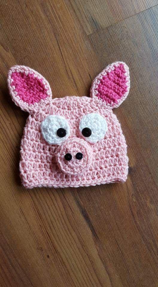 Crocheted baby piggy hat
