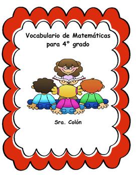 4th Grade Spanish Math Word Wall Vocabulario De Matematicas En