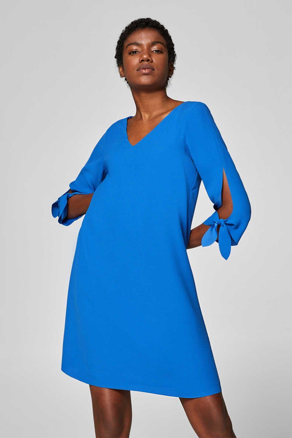 Esprit - Crêpe-Kleid mit Schleifenbändchen