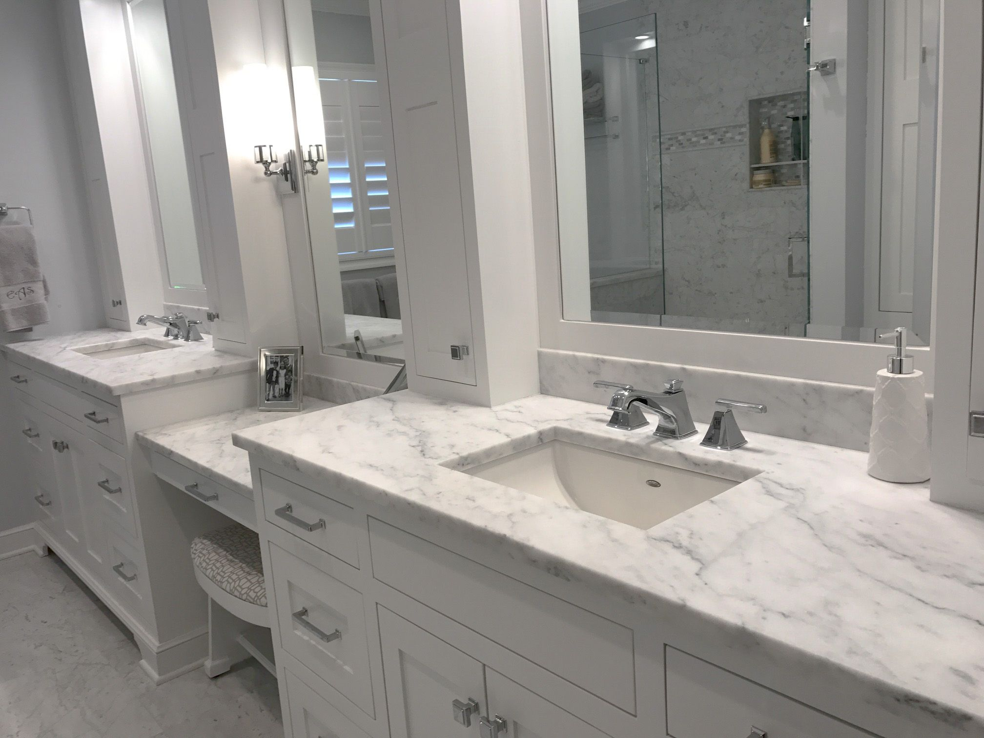 Bathroom Vanity Top With White Carrara Marble Venezia Marble 58