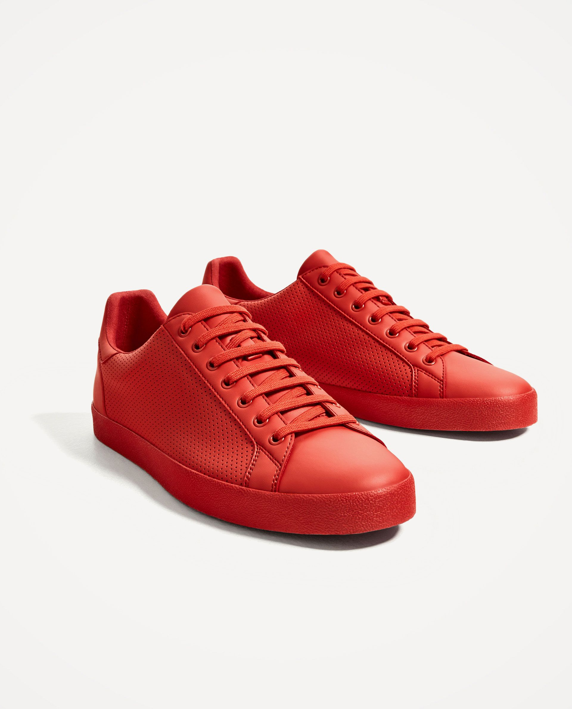 brand new 61e60 d5e81 RED PERFORATED PLIMSOLLS Vegan Sneakers, Zara Sneakers, Red Sneakers, Zara  Shoes, Vegan