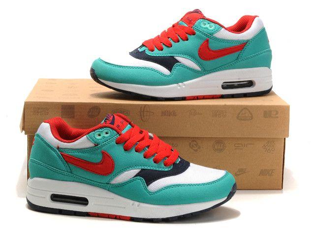 Nike Air Max 1 Vrouwen Blauw Wit Rood DiepBlauw