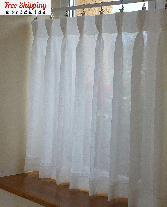 100% Linen Kitchen Window Cafe Curtains Semi Sheer