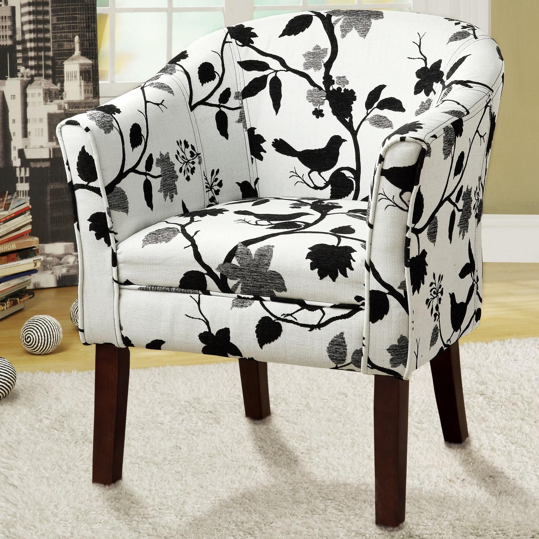 Transitional Accent Arm Chair With White Bird Pattern In Black/White  Upholstery By Coaster Furniture 460406