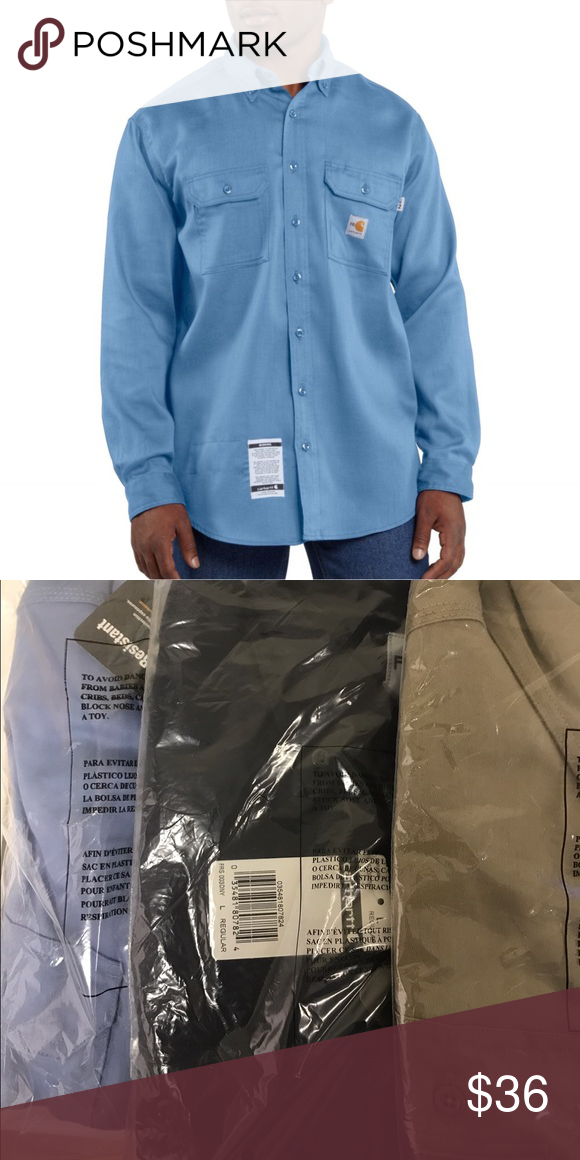 Carhartt Men's Fire Resistant Twill Shirt FRS003 Carhartt Men's Fire Resistant Twill Shirt FRS003 - Fire Resistant Work Dry lightweight Twill Shirt. 6-ounce, FR twill: 88% Cotton/12% High-Tenacity Nylon. Button-down collar with button closure with FR melamine buttons throughout. Carhartt FR label sewn on left pocket; NFPA 2112/CAT 2 label sewn on sleeve. Meets the performance requirements of NFPA 70E and is UL® Classified to NFPA 2112. Carhartt Shirts Casual Button Down Shirts