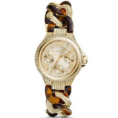 Michael Kors Camille Champagne Tortoise and Steel Watch