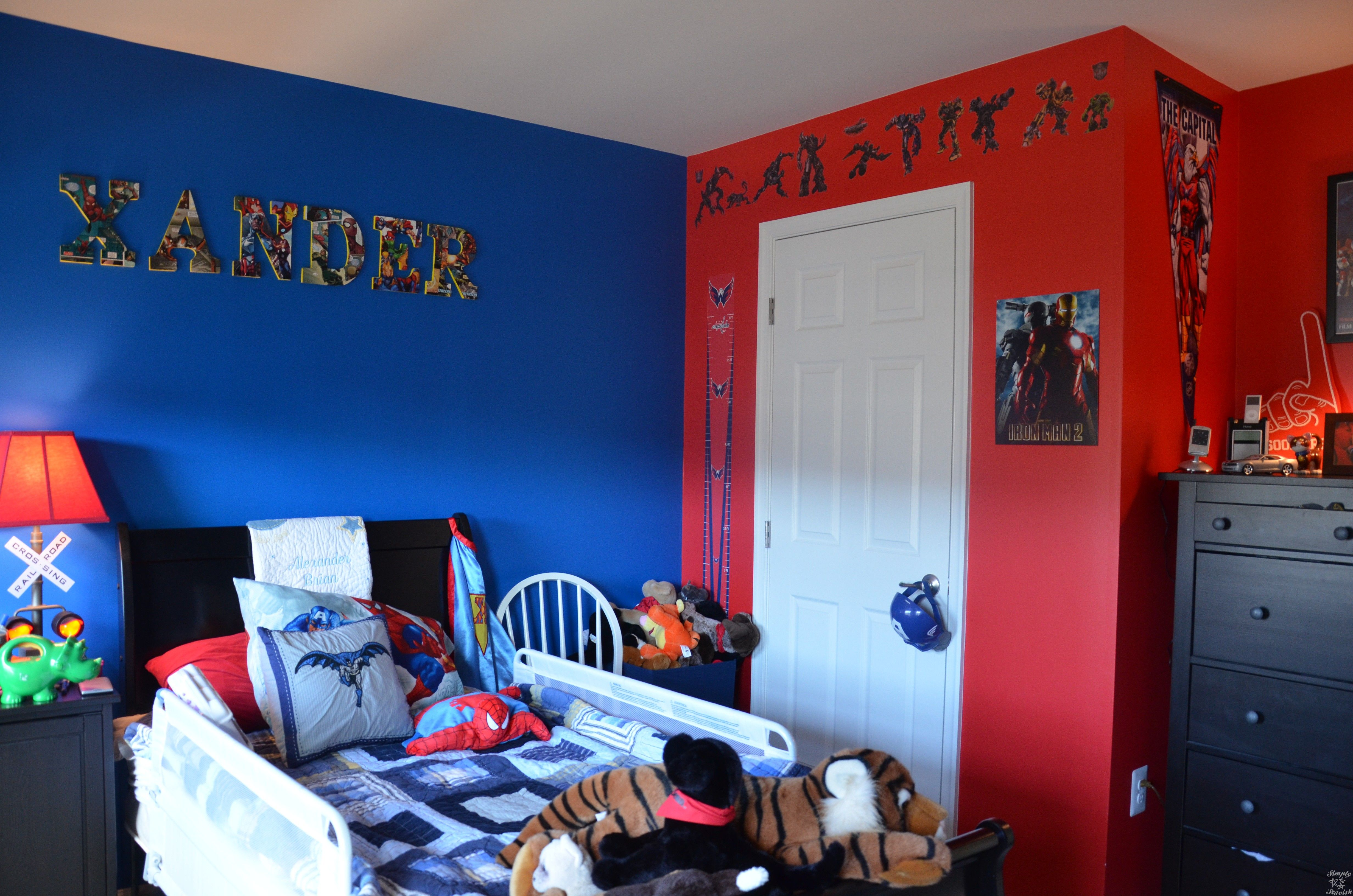 Red Blue Superhero Theme Boys Bedroom With And Walls Featuring All Marvel Dc Superheroes On The Pillows Plus Ironman Capital