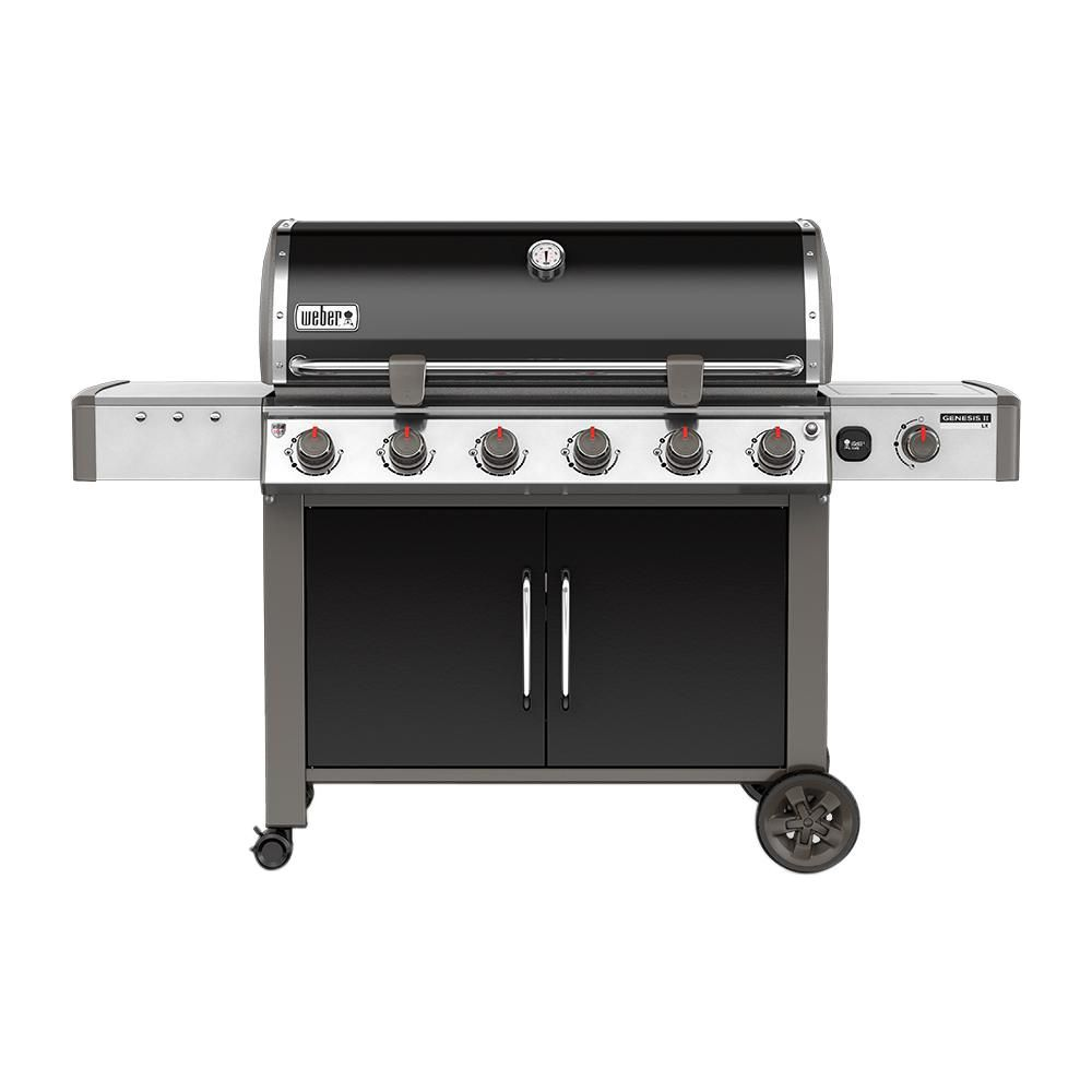 genesis ii lx e 640 6 burner natural gas grill in black with built